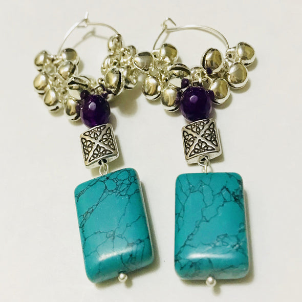Green Purple Bell Earrings