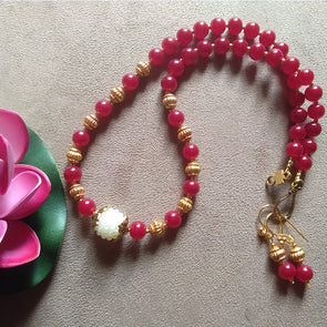 Dark Red Necklace Set