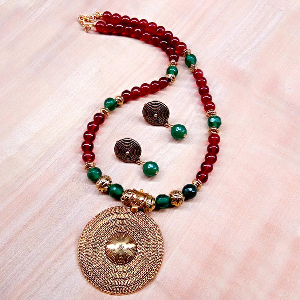 Maroon with Green Ethnic Necklace Set