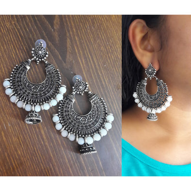 White Bead Oxidised Chandbaali