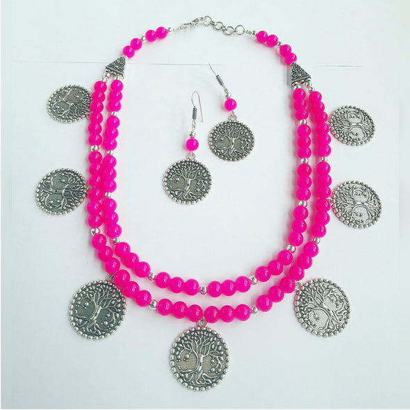Pink Glass Beads Ethnic Necklace