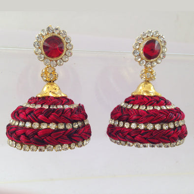 Red and Black Studded Jhumkas