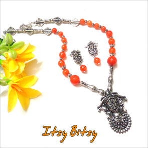 German Silver Orange Durga Neckpiece Set
