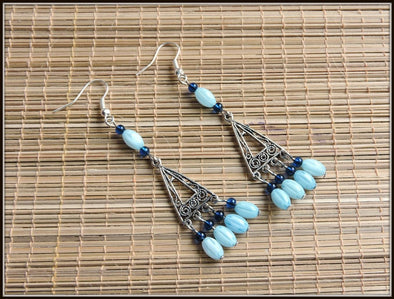 Two Blues beads dangler