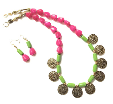 Handmade Parrot Green And Fuchisa Pink Coloured Golden Necklace Set