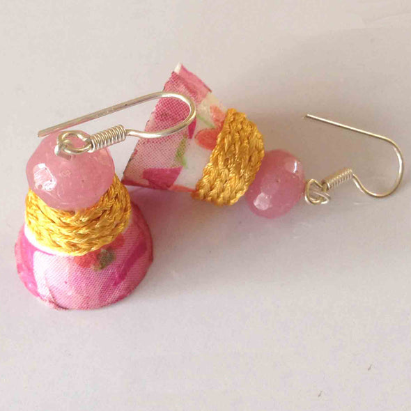 Decoupage and Silk Thread Earrings