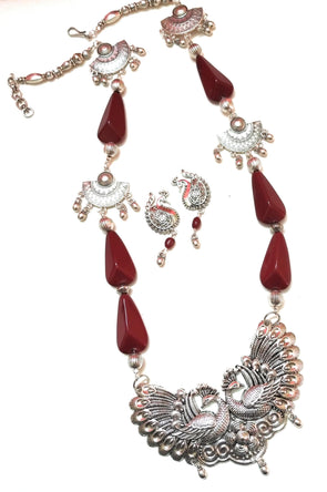 Maroon Resin Beaded Peacock Necklace/Jewellery Set