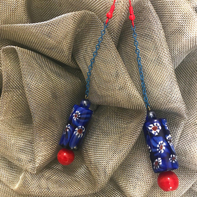Blue Red Earrings