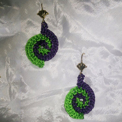 Blue and Green Crosha Earrings