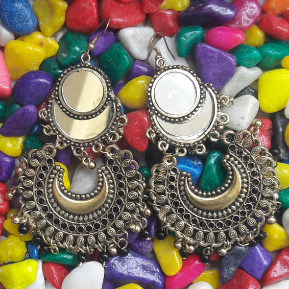 Mirror Chandbali Earrings