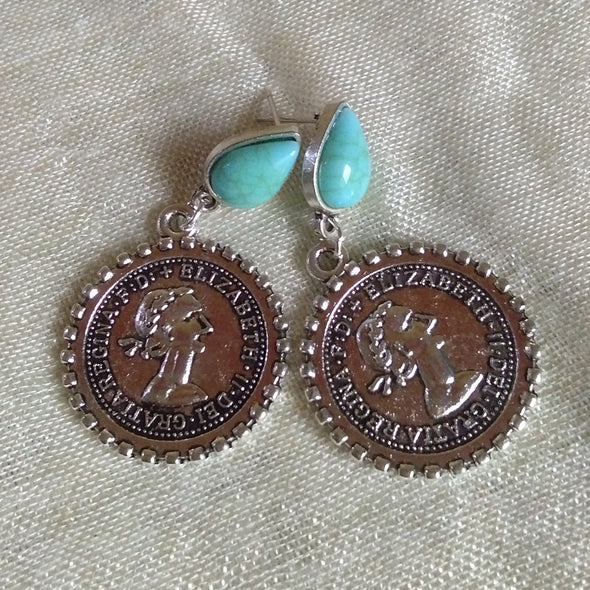 Turquoise Stud Coin Earrings