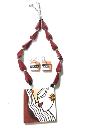 Handmade Wooden Pendent Necklace Jewellery Set