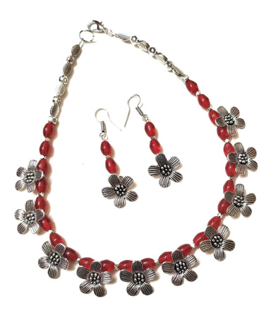 German Silver Flower Charms Maroon Necklace Set