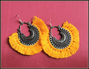Tassel Earrings - Fire Yellow