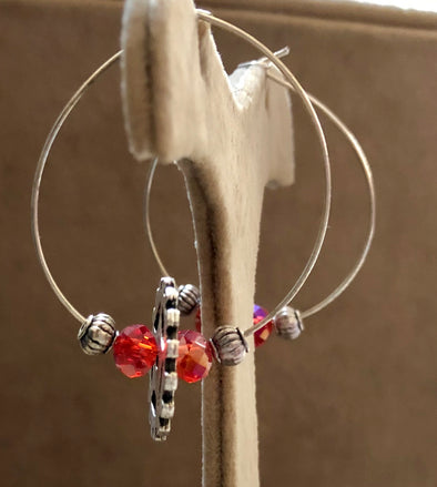 Steampunk Hoops with Red Crystal