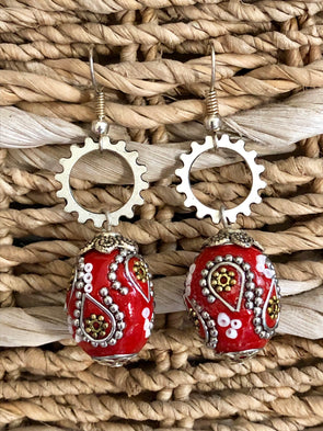 Steampunk Earrings with Long Red Boho Bead