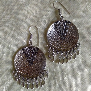 Round Oxidized Silver Earrings