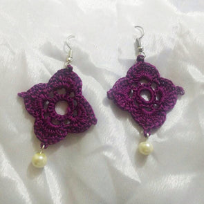 Dark Purple Crosha Work Earrings