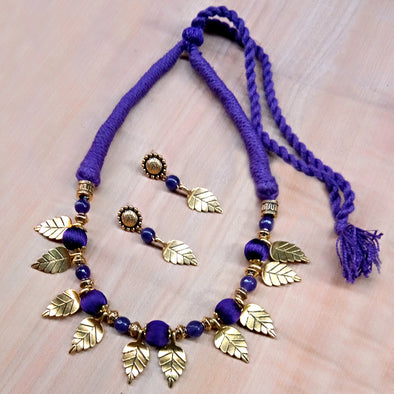 Violet Leaf Necklace Set