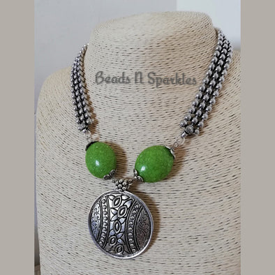 Green Silver Moti Necklace