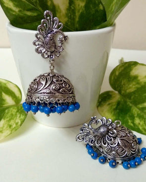 Blue royal big jhumkas