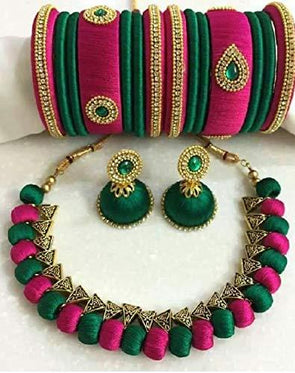 Pink & Green Silk Thread Jewellery Set