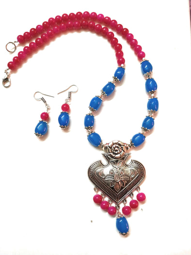 German Silver Blue/Fuchisa Pink Coloured Beaded Necklace/Jewellery Set