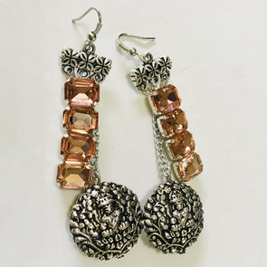 Goddess with Peach Rhinestones Earrings
