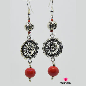 Red & Silver Flower Earring