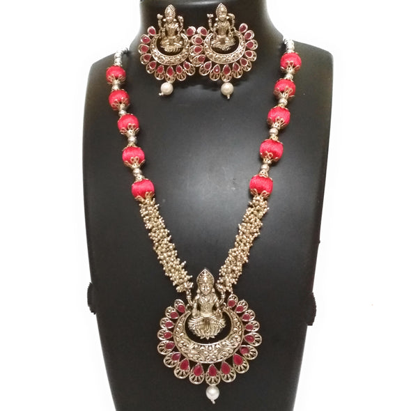 Silk Thread Lakshmi Necklace Set