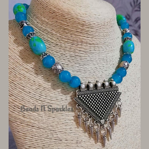 Cool Blue Buddha Necklace Set