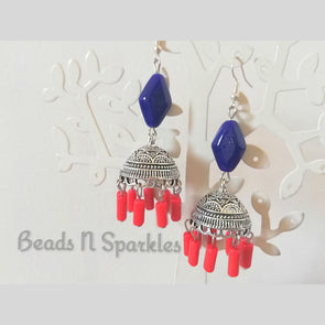 Royal Blue Coral Jhumkas