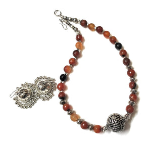 Handmade Brown Shaded Onyx Statement Necklace Set
