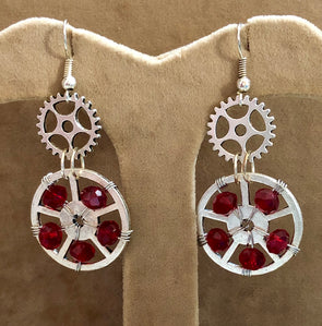 Steampunk Earrings with Red Crystal Wheel