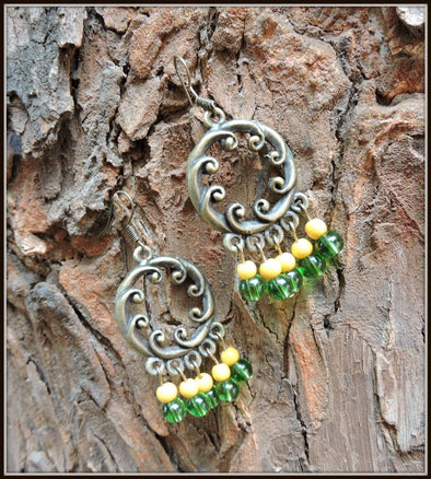 Yellow and Green Antique earrings