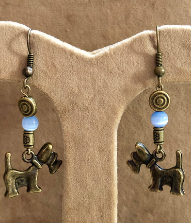 Antique Bronze Dogs with Blue Cat's Eye Bead