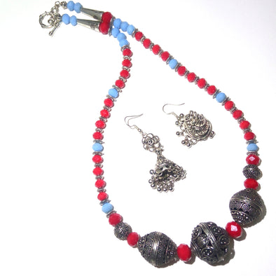 Red-Sky Blue German Silver Neckpiece Set