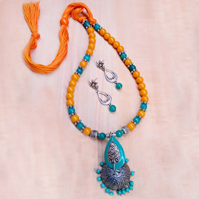 Turquoise with Yellow Necklace Set