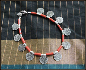 Coin Anklet in Red - Oxidised jewelry