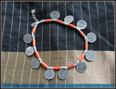 Coin Anklet in Orange - Oxidised jewelry