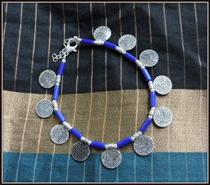 Coin Anklet in Blue - Oxidised jewelry