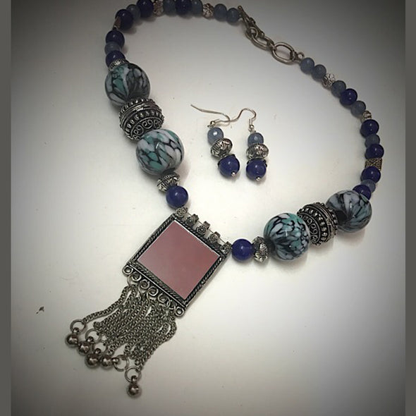 Blue with Mirror Pendant Necklace Set