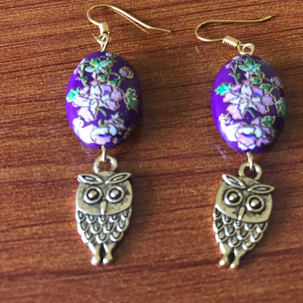 Purple Printed Bead with Owl Earrings