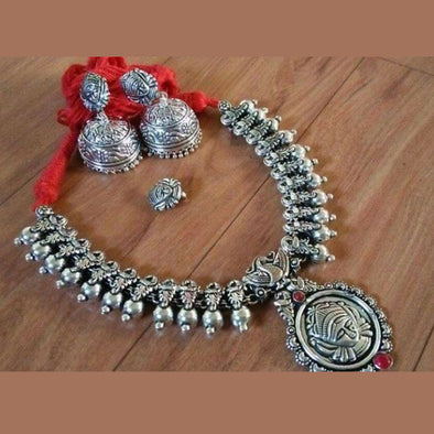 Maa Durga Bud Temple Necklace in Red Dhori with Jhumka and Nosepin