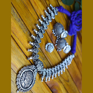 Durgama Temple Necklace with Jhumka and Nosepin