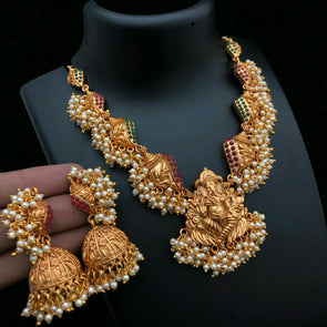 Matt Gold Ganesh Necklace with Pearl Gungroos and Jhumka