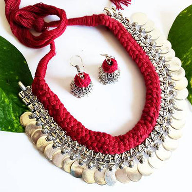 Maroon Dhori Necklace with Earring