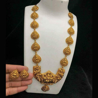 Gold Finish Temple Shiva Family Long Haram with Earrings