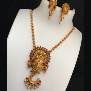 Gold Finish Ganesh Pendant Chain with Earrings