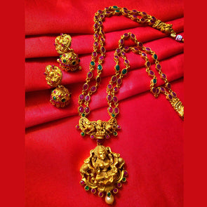 Lakshmi Matt Gold Ruby Necklace Set